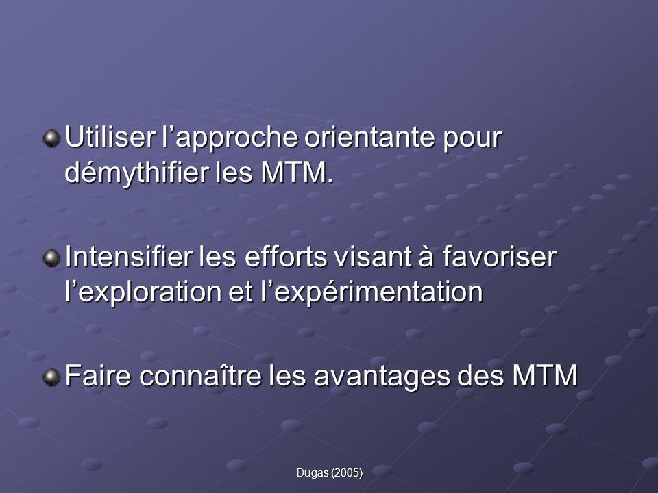 Utiliser l'approche orientante pour démythifier les MTM.