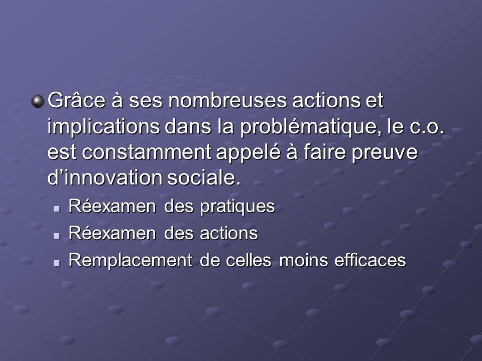 Grâce à ses nombreuses actions et implications dans la problématique, le c.o. est constamment appelé à faire preuve d'innovation sociale.
