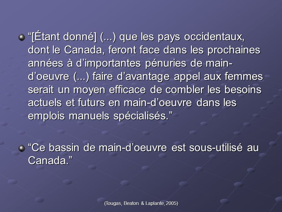 (Tougas, Beaton & Laplante, 2005)