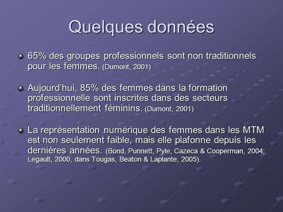 Quelques données 65% des groupes professionnels sont non traditionnels pour les femmes. (Dumont, 2001)