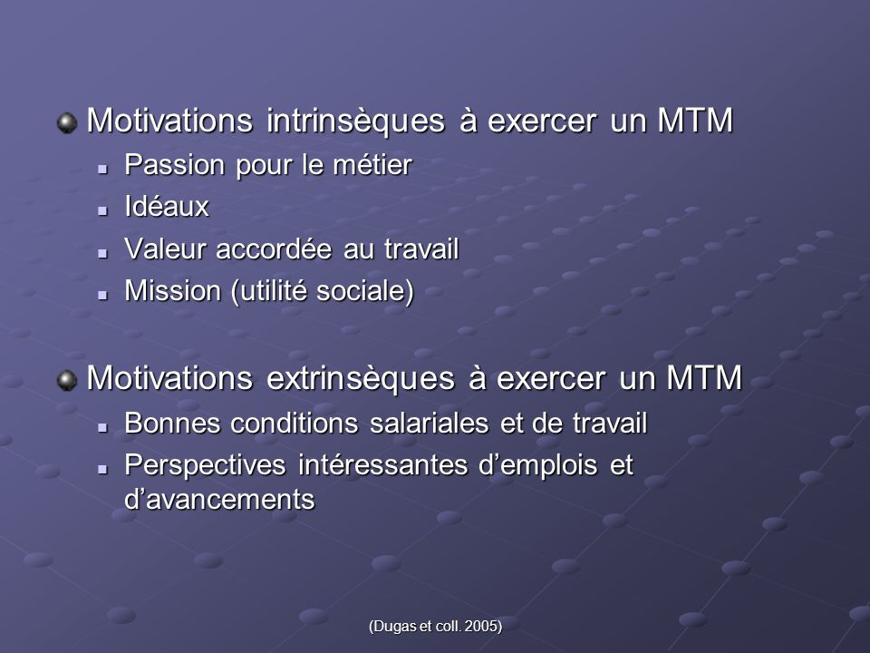 Motivations intrinsèques à exercer un MTM