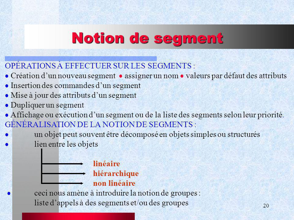 Notion de segment OPÉRATIONS À EFFECTUER SUR LES SEGMENTS :