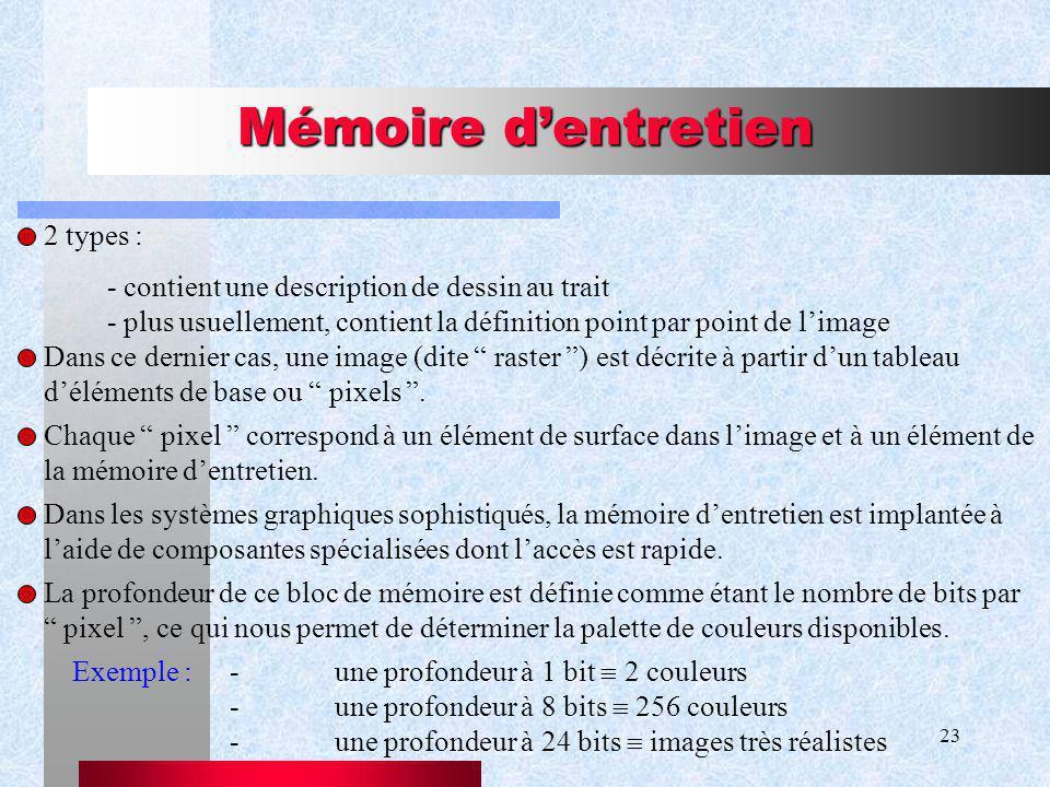 Mémoire d'entretien 2 types :