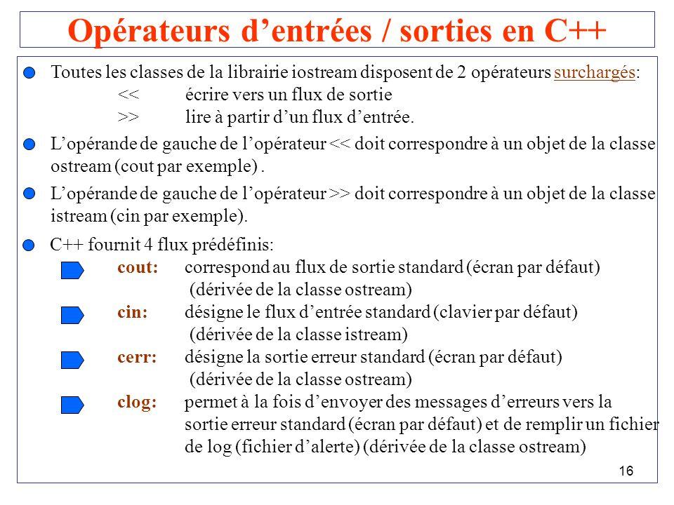 Opérateurs d'entrées / sorties en C++