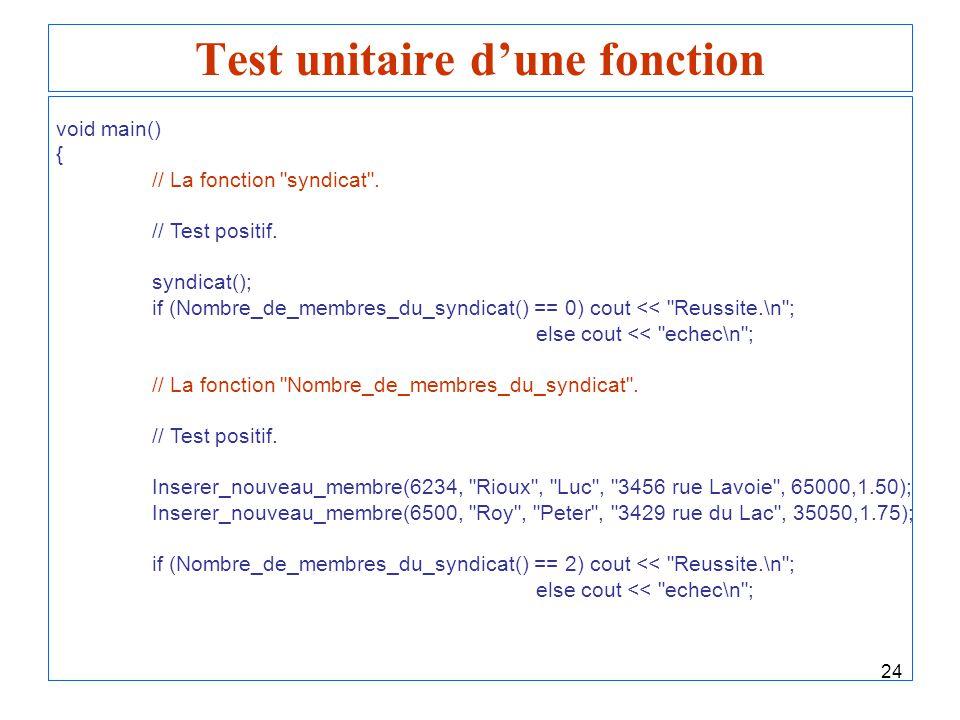 Test unitaire d'une fonction