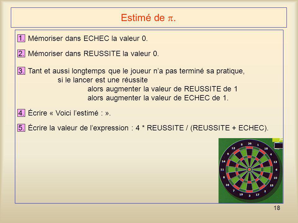Estimé de . 1. Mémoriser dans ECHEC la valeur 0. 2.