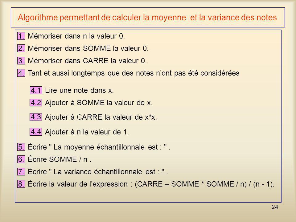 Algorithme permettant de calculer la moyenne et la variance des notes