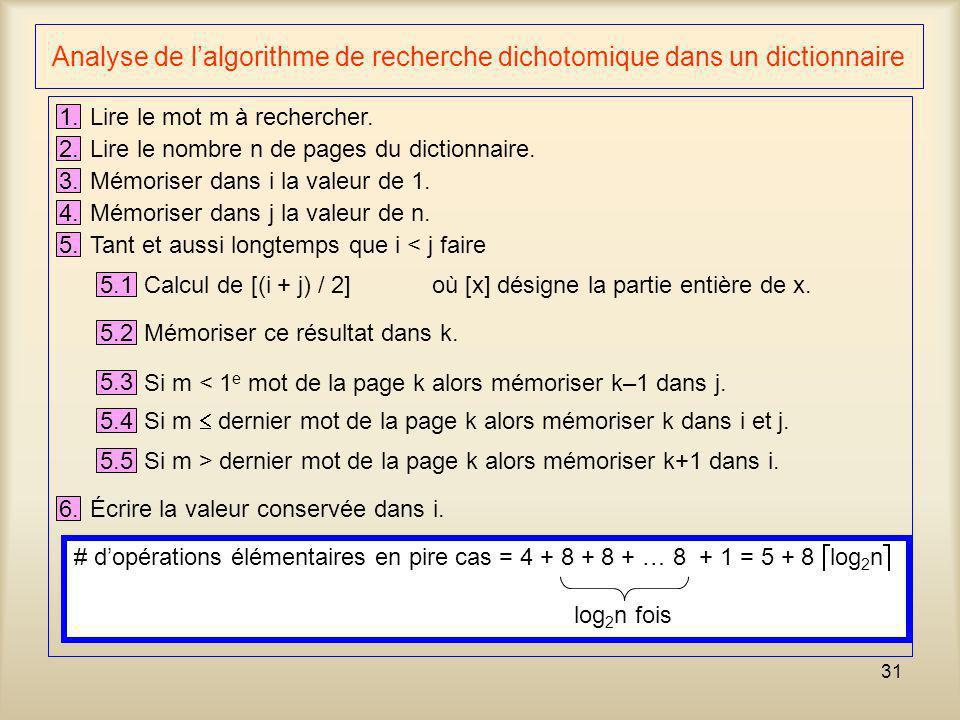 Analyse de l'algorithme de recherche dichotomique dans un dictionnaire