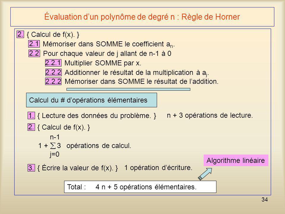 Évaluation d'un polynôme de degré n : Règle de Horner