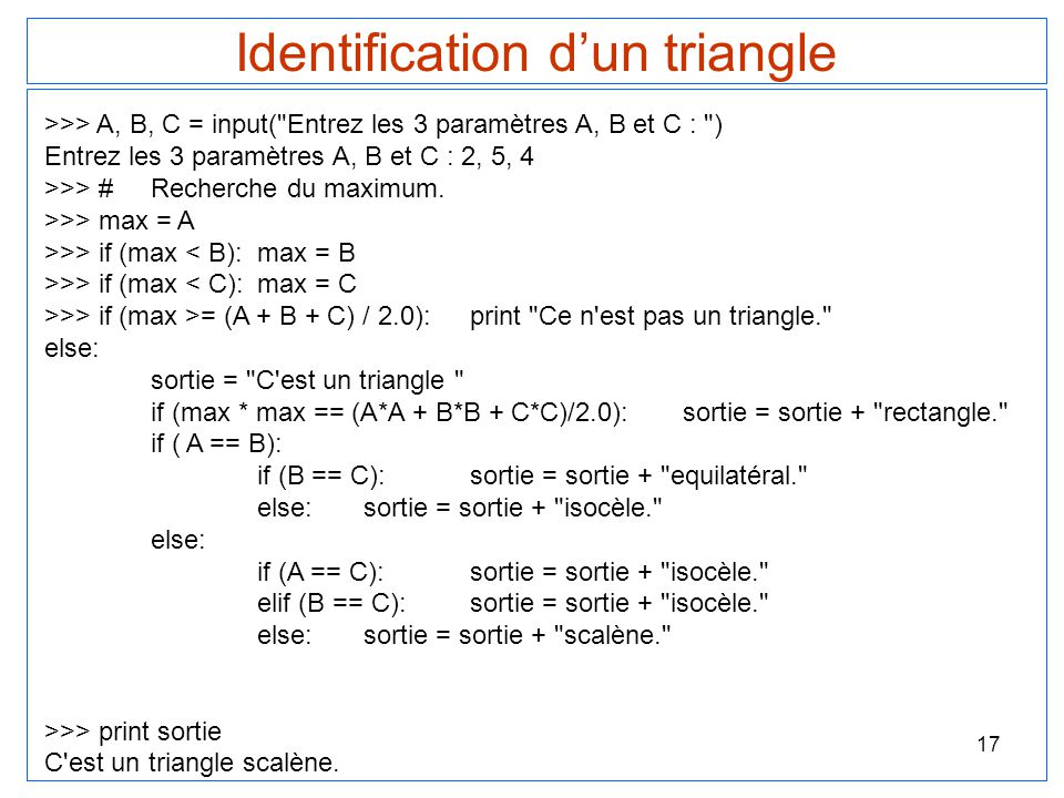 Identification d'un triangle