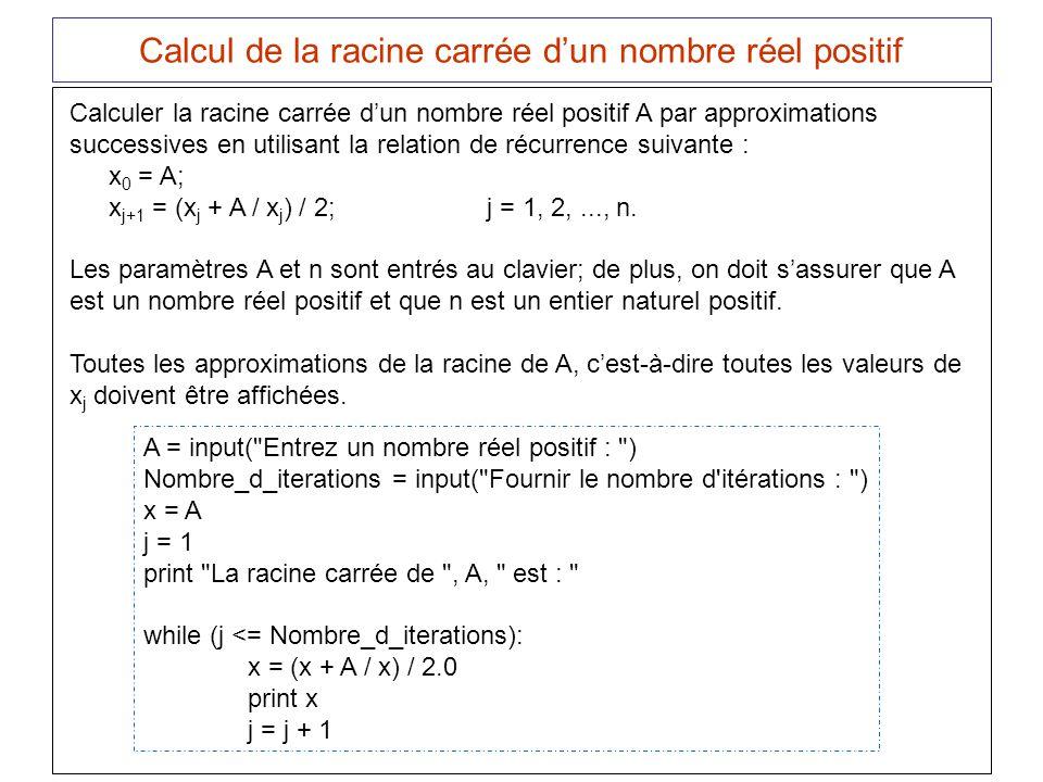 Calcul de la racine carrée d'un nombre réel positif
