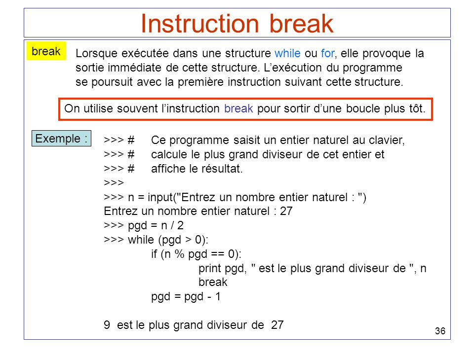 Instruction break break