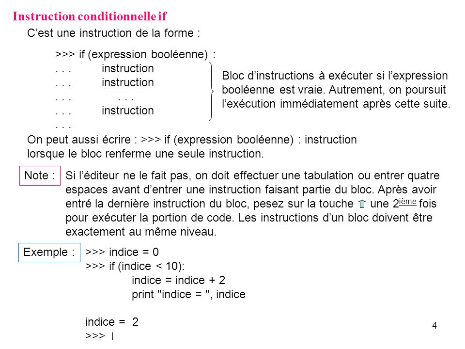 Instruction conditionnelle if