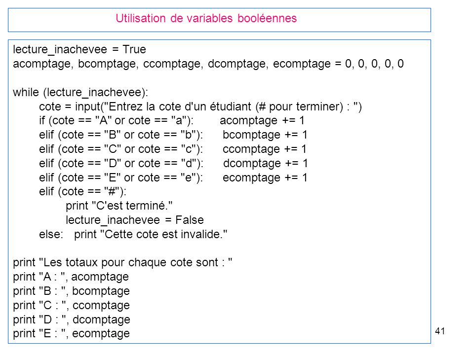 Utilisation de variables booléennes