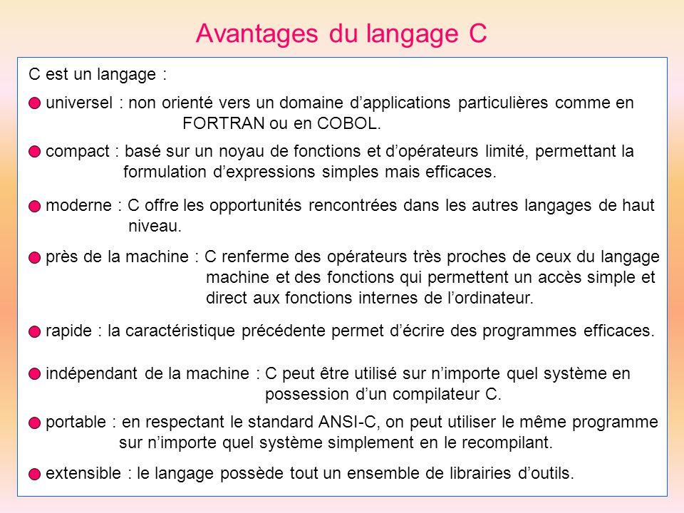 Avantages du langage C C est un langage :