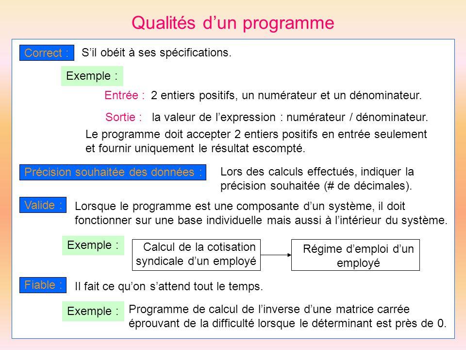 Qualités d'un programme
