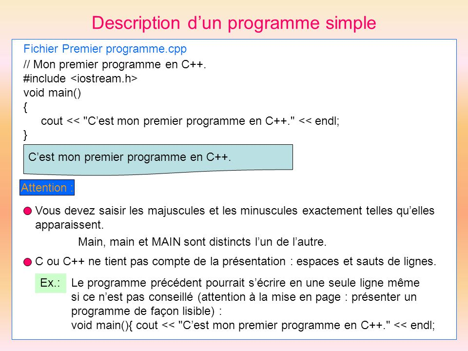 Description d'un programme simple