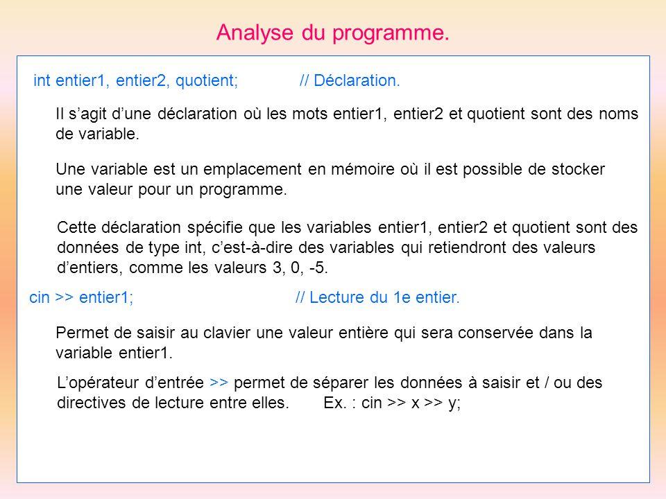 Analyse du programme. int entier1, entier2, quotient; // Déclaration.