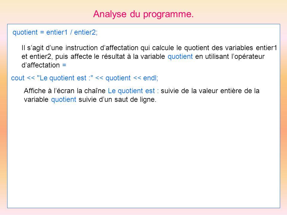 Analyse du programme. quotient = entier1 / entier2;