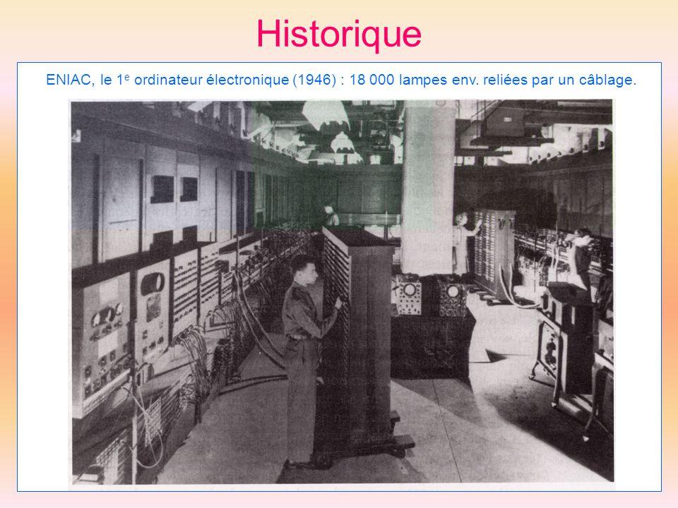 Historique ENIAC, le 1e ordinateur électronique (1946) : 18 000 lampes env. reliées par un câblage.