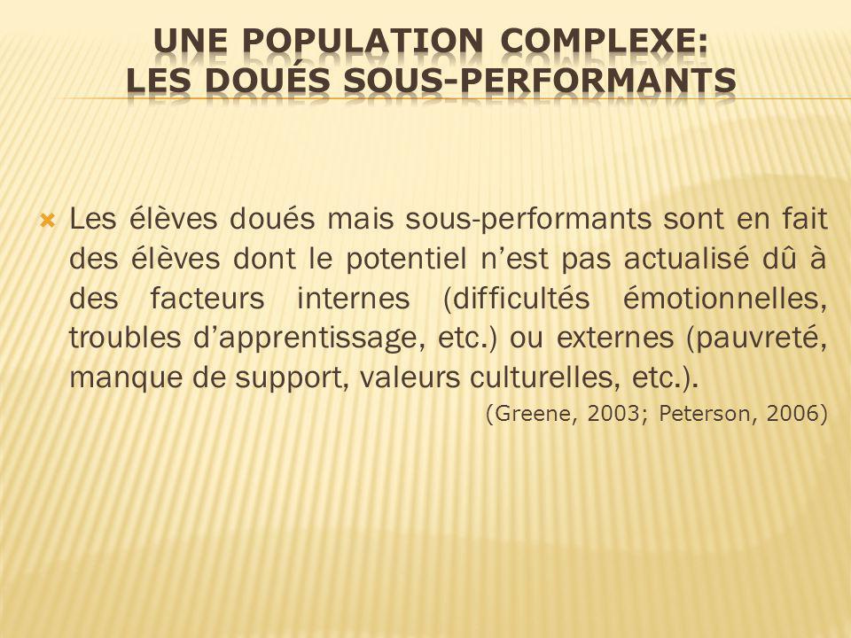 Une population complexe: les doués sous-performants
