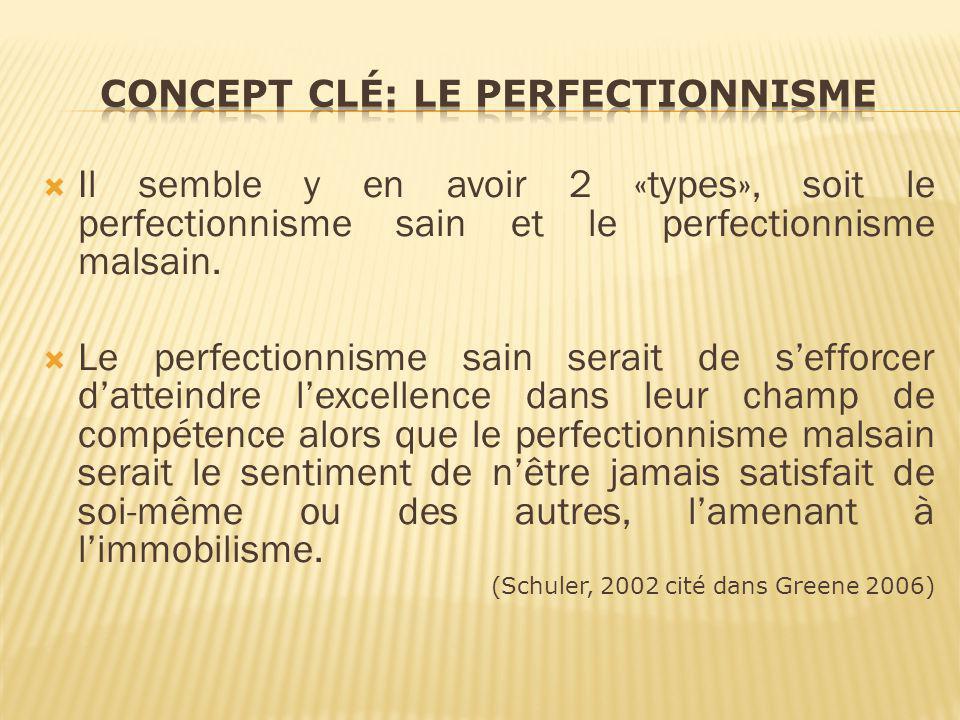 Concept clé: le Perfectionnisme