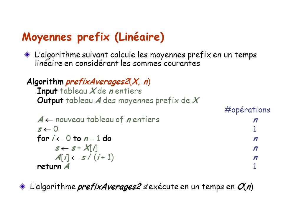 Moyennes prefix (Linéaire)