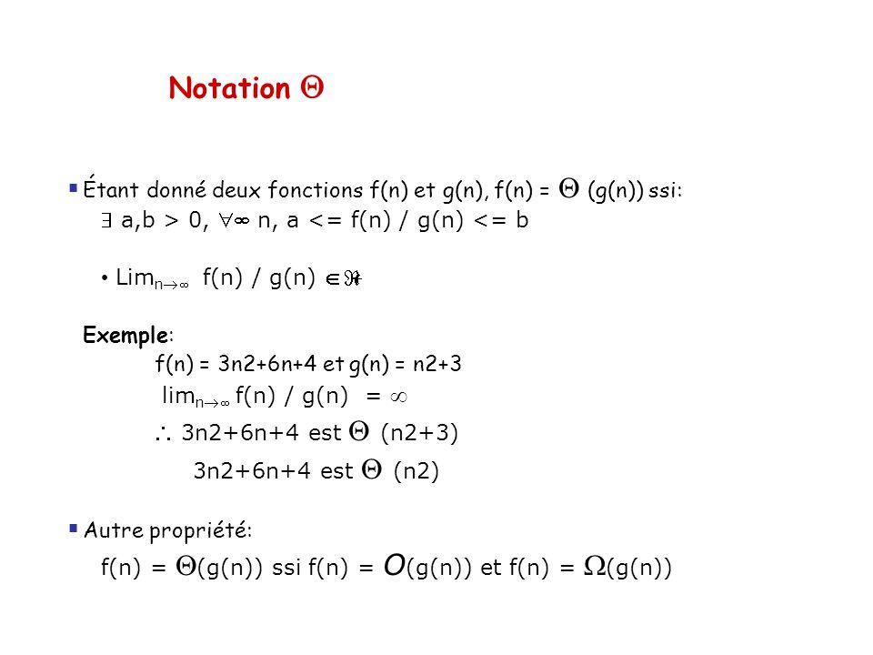 Notation Q Étant donné deux fonctions f(n) et g(n), f(n) = Q (g(n)) ssi:  a,b > 0,  n, a <= f(n) / g(n) <= b.