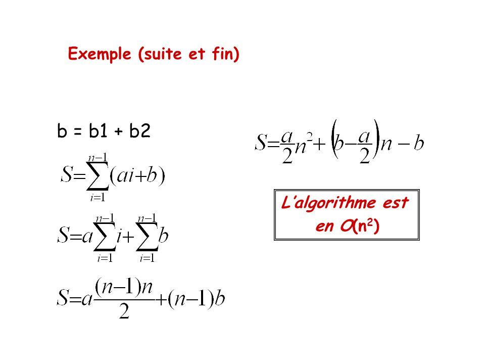 Exemple (suite et fin) b = b1 + b2 L'algorithme est en O(n2)