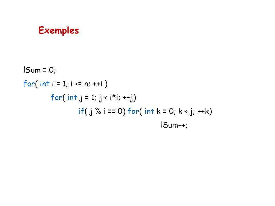Exemples lSum = 0; for( int i = 1; i <= n; ++i )