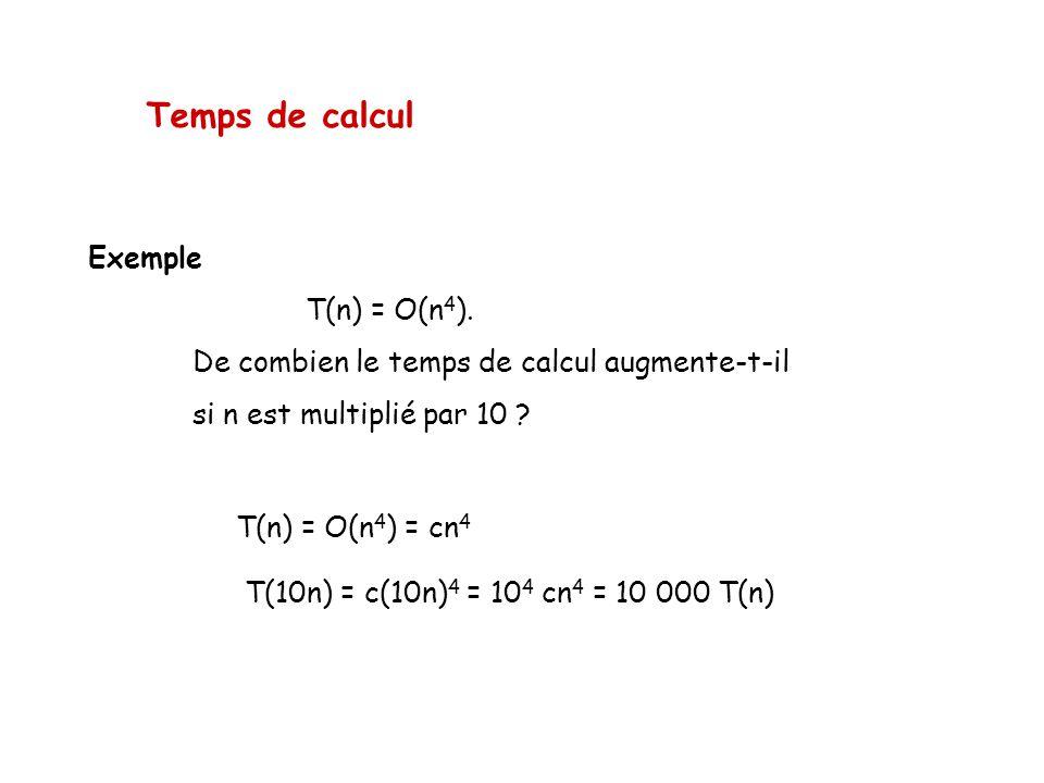 Temps de calcul Exemple T(n) = O(n4).