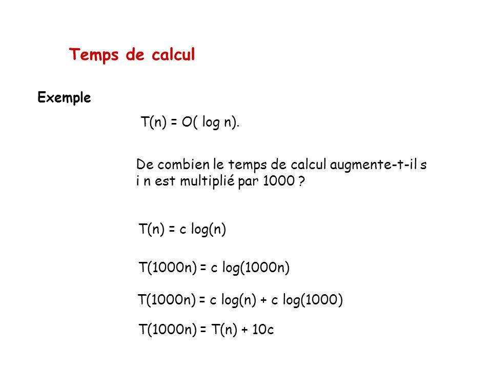 Temps de calcul Exemple T(n) = O( log n).