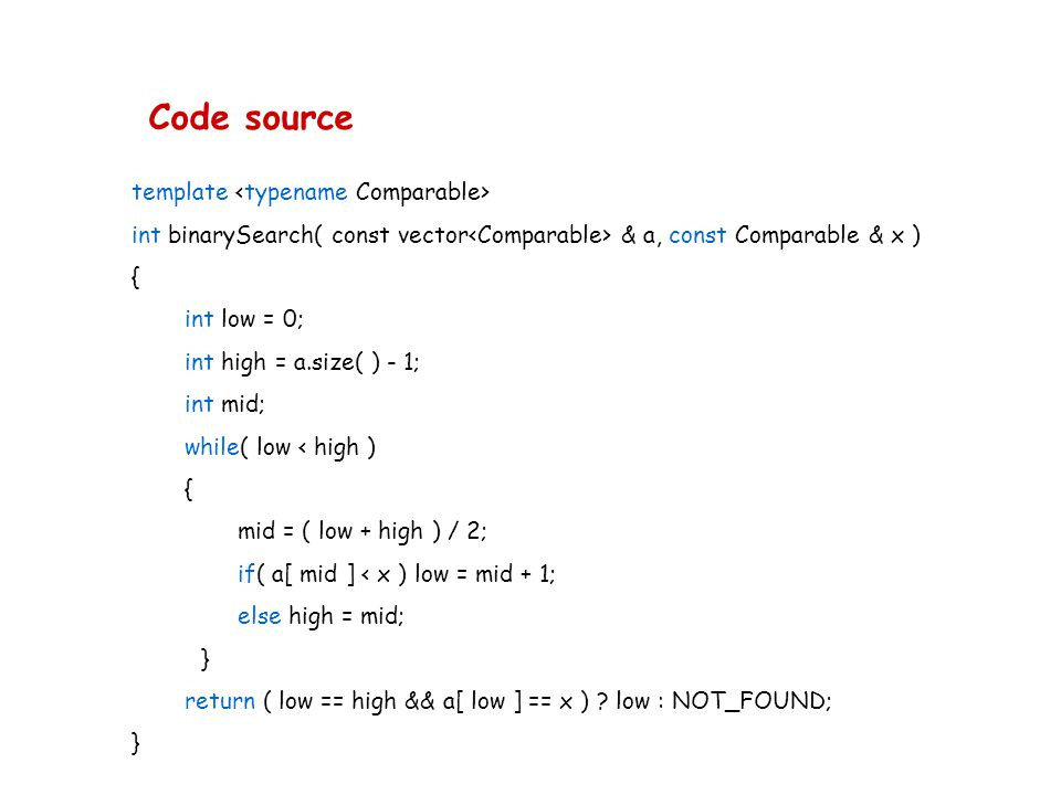 Code source template <typename Comparable>