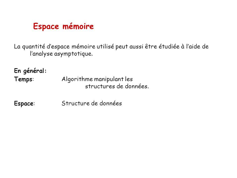 Espace mémoire La quantité d'espace mémoire utilisé peut aussi être étudiée à l'aide de l'analyse asymptotique.