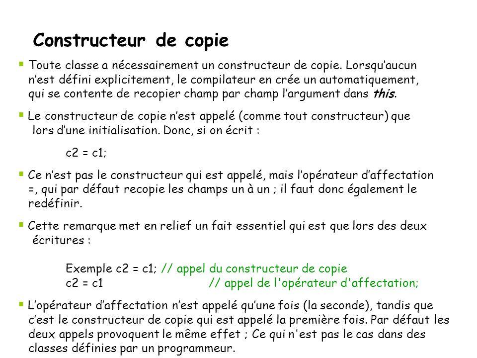 Constructeur de copie Toute classe a nécessairement un constructeur de copie. Lorsqu'aucun.