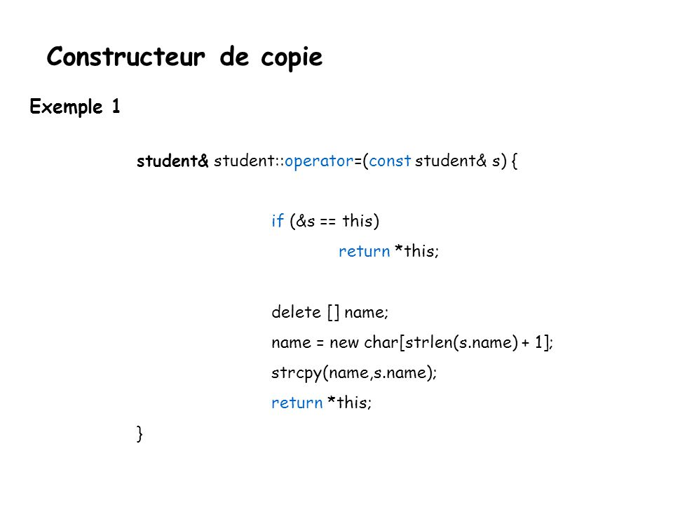 Constructeur de copie Exemple 1