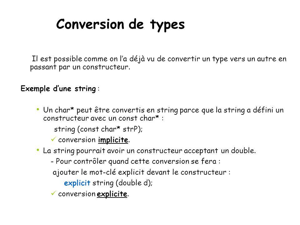 Conversion de types Il est possible comme on l'a déjà vu de convertir un type vers un autre en passant par un constructeur.