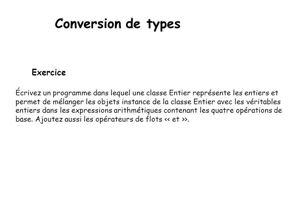Conversion de types Exercice