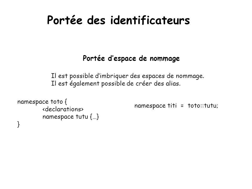 Portée des identificateurs