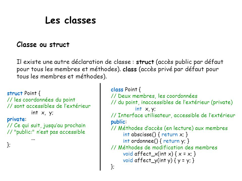 Les classes Classe ou struct