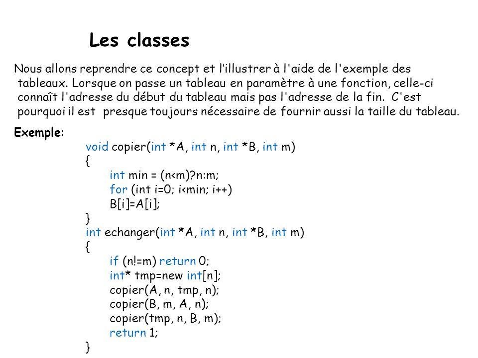 Les classes Nous allons reprendre ce concept et l'illustrer à l aide de l exemple des.