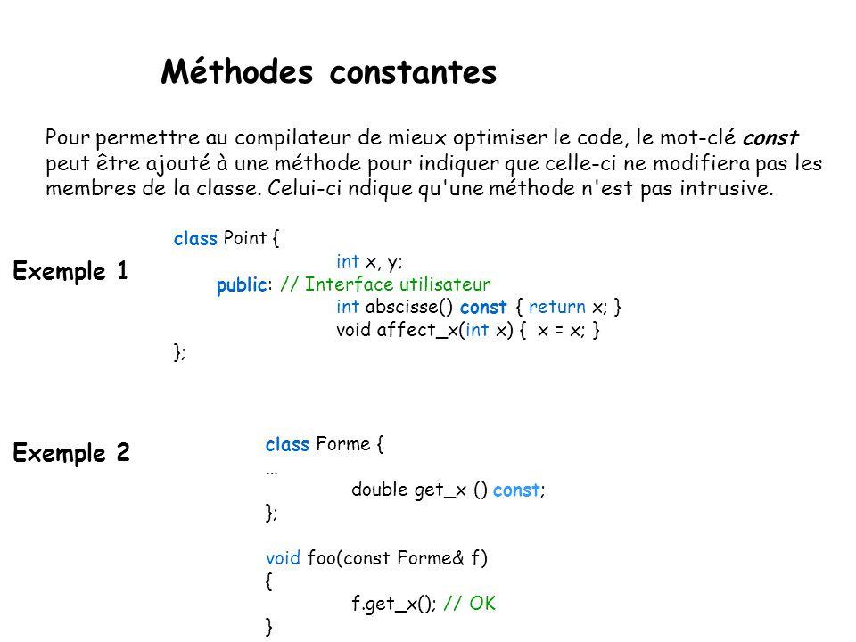 Méthodes constantes Exemple 1 Exemple 2