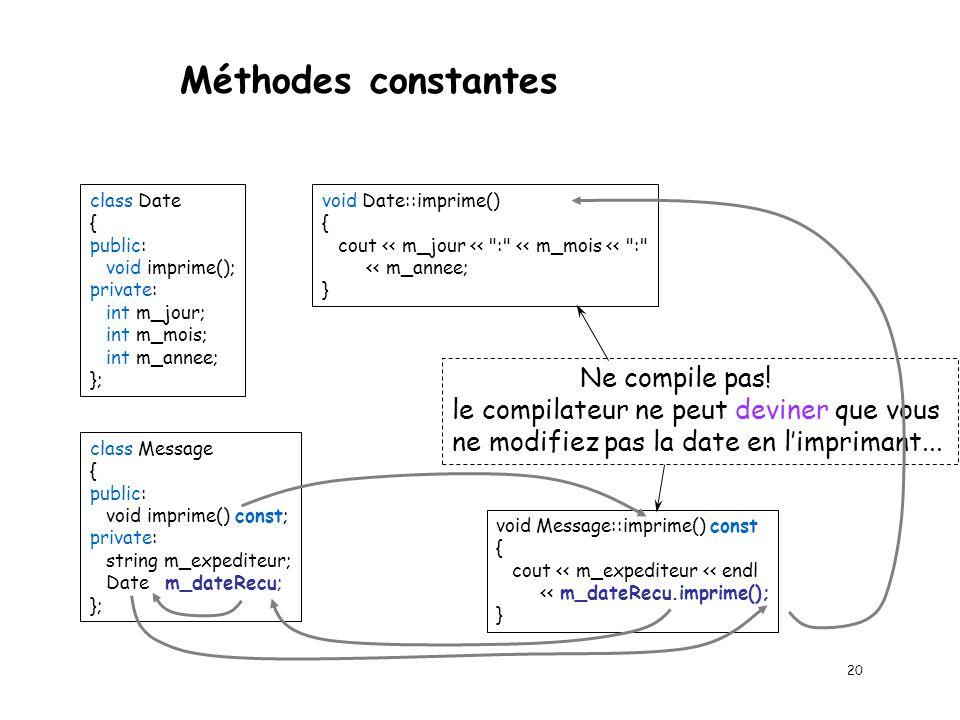 Méthodes constantes Ne compile pas!