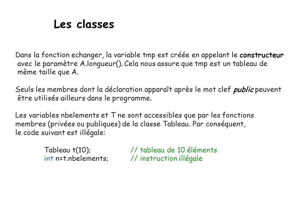 Les classes Dans la fonction echanger, la variable tmp est créée en appelant le constructeur.