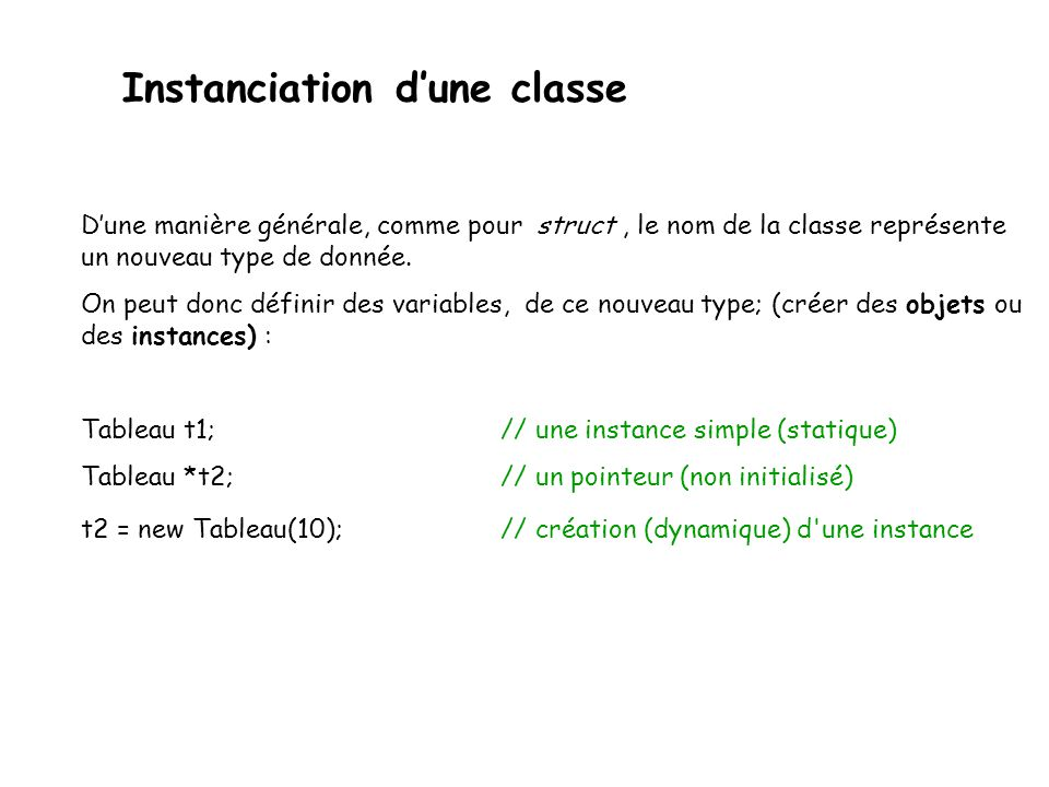 Instanciation d'une classe