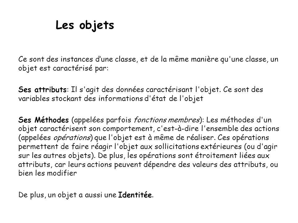 Les objets Ce sont des instances d'une classe, et de la même manière qu une classe, un objet est caractérisé par: