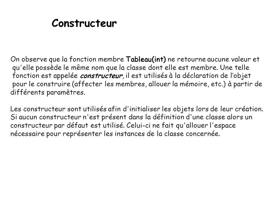 Constructeur On observe que la fonction membre Tableau(int) ne retourne aucune valeur et.