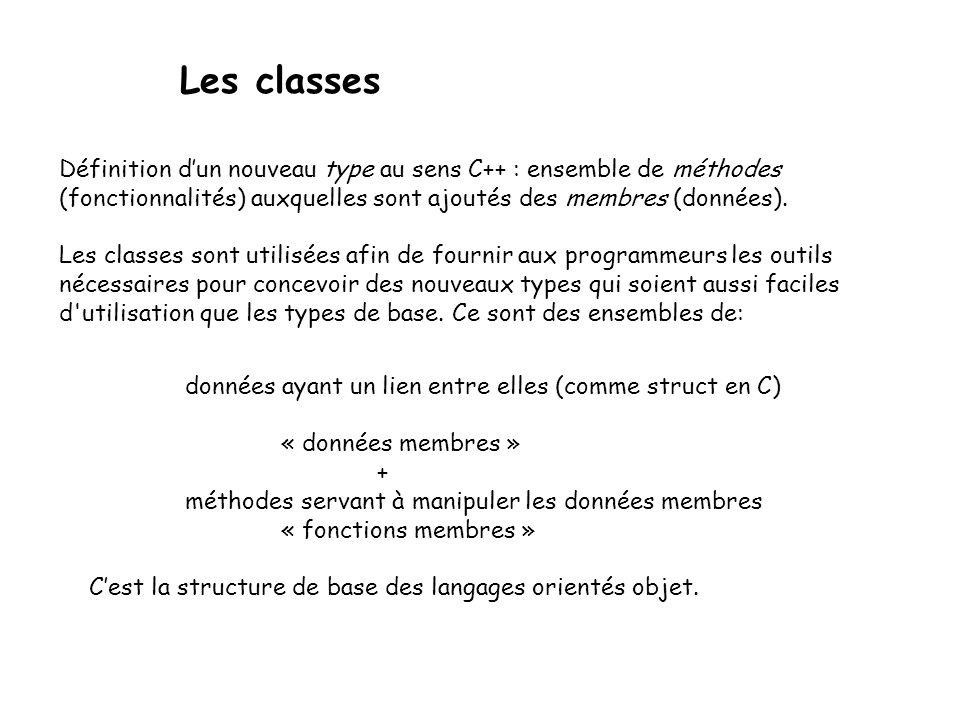 Les classes Définition d'un nouveau type au sens C++ : ensemble de méthodes. (fonctionnalités) auxquelles sont ajoutés des membres (données).