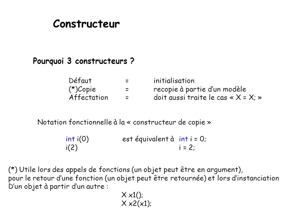 Constructeur Pourquoi 3 constructeurs Défaut = initialisation