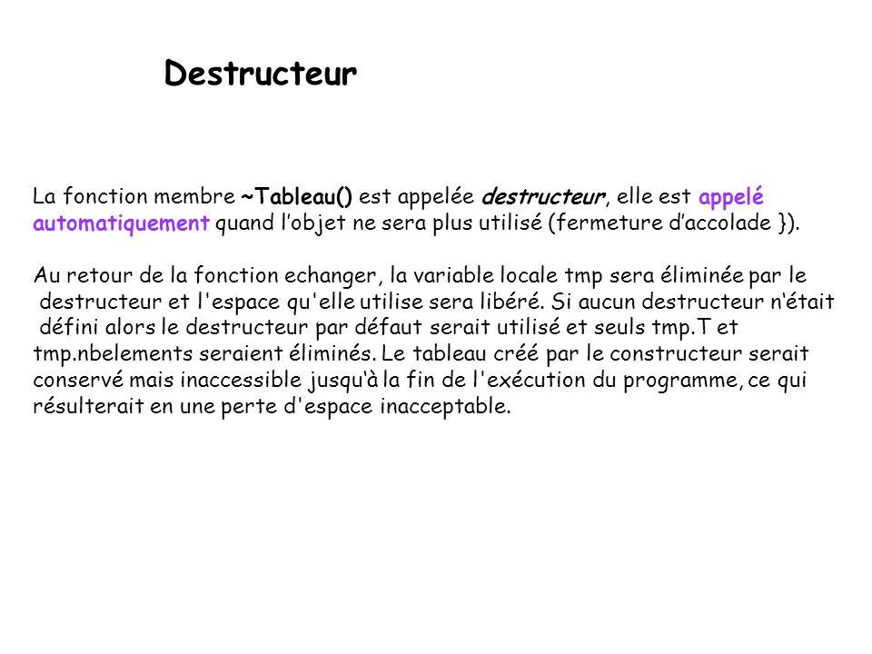 Destructeur La fonction membre ~Tableau() est appelée destructeur, elle est appelé.